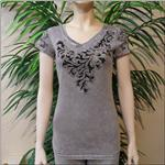 FASHION HOUSE Grey Laser Cut Tee With Crystals
