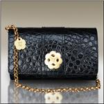 ERIC JAVITS Convertible Black Croc Clutch Handbag