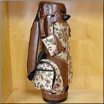 Khaki Floral & Brandy Leather Classic Style Golf Bag