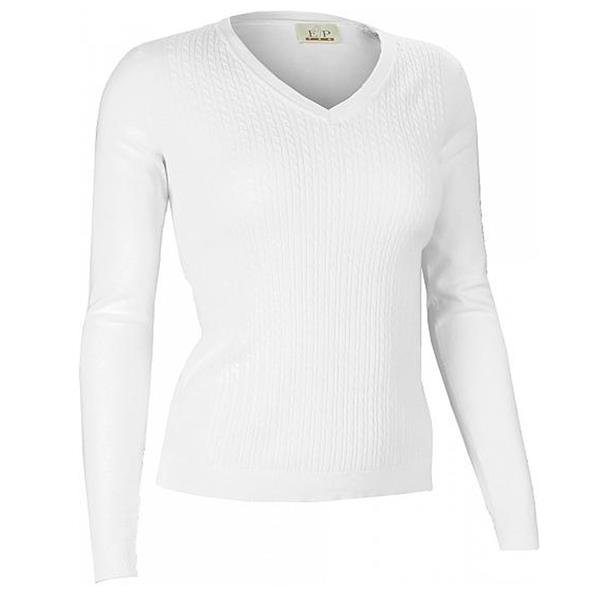 EP Pro Sportswear | Ladies White Classic Cotton Cable Front V-Neck ...